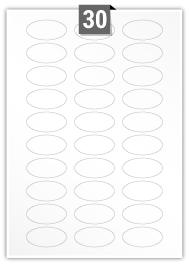30 Oval Labels per A4 sheet