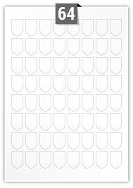 64 étiquettes irreguliere par feuille -  20 mm x 30 mm