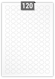 120 Oval Labels per A4 sheet