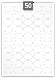 50 Oval Labels per A4 sheet