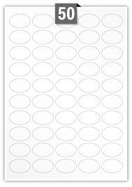 50 Oval Labels per A4 sheet