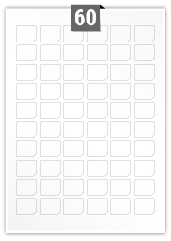 60 Irregular Labels per A4 sheet