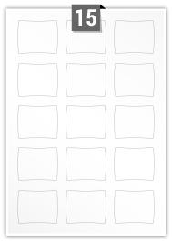 15 étiquettes irreguliere par feuille -  55 mm x 44 mm
