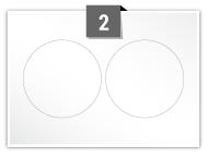 2 Circular Labels per A5 sheet