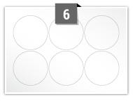 6 étiquettes cercle par feuille -  60 mm Diamètre