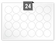 24 étiquettes cercle par feuille -  30 mm Diamètre