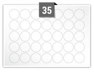 35 étiquettes cercle par feuille -  25 mm Diamètre