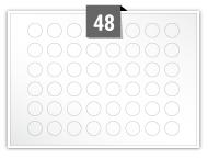 48 étiquettes cercle par feuille -  16 mm Diamètre
