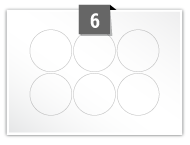 6 étiquettes cercle par feuille -  51 mm Diamètre
