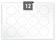 12 Circular Labels per A5 sheet