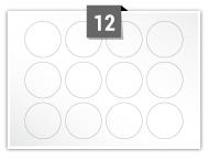 12 étiquettes cercle par feuille -  40 mm Diamètre