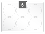 6 étiquettes cercle par feuille -  64 mm Diamètre