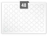 48 étiquettes cercle par feuille -  19 mm Diamètre