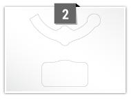2 étiquettes irreguliere par feuille -  124.821 mm x 56.203 mm / 81.534 mm x 46.977 mm