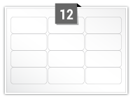 12 étiquettes rectangulaires par feuille -  63.5 mm x 29.6 mm