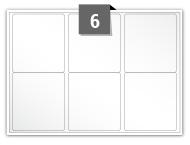 6 étiquettes rectangulaires par feuille -  63.5 mm x 72 mm