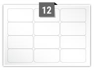 12 étiquettes rectangulaires par feuille -  64 mm x 33.9 mm