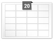 20 étiquettes rectangulaires par feuille -  45.7 mm x 25.5 mm