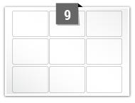 9 étiquettes rectangulaires par feuille -  63.5 mm x 38.1 mm