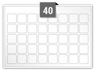 40 étiquettes carre par feuille -  22 mm x 22 mm