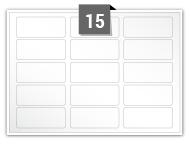 15 étiquettes rectangulaires par feuille -  60 mm x 25 mm