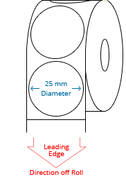 25 mm Étiquettes de rouleau de cercle