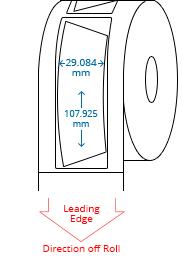 29.084 mm x 107.925 mm / 33.084 mm x 111.925 mm  Roll Labels