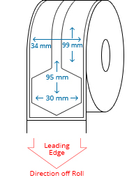 34 mm x 99 mm / 30 mm x 95 mm Roll Labels