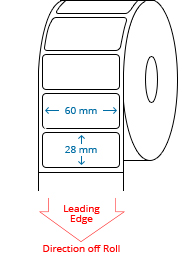 60 mm X 28 mm Roll Labels