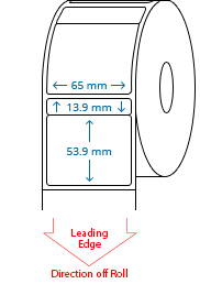 65 mm x 13.9 mm / 65 mm x 53.9 mm Roll Labels
