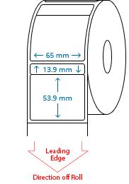 65 mm x 13.9 mm / 65 mm x 53.9 mm Roll Labels