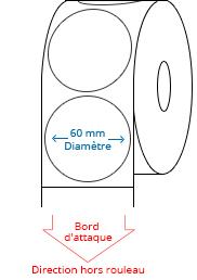 60 mm Étiquettes de rouleau de cercle