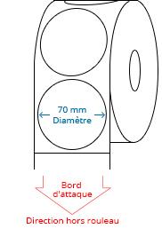 70 mm Étiquettes de rouleau de cercle