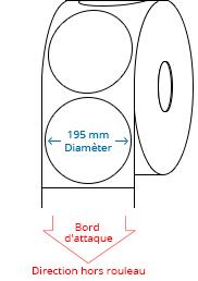 195 mm Étiquettes de rouleau de cercle