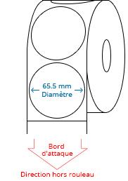 65.5 mm Étiquettes de rouleau de cercle