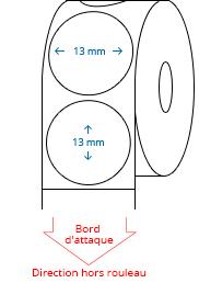 13 mm Étiquettes de rouleau de cercle