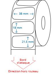 38 mm x 21.5 mm Étiquettes à rouleaux