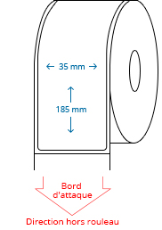 35 mm x 185 mm Étiquettes à rouleaux