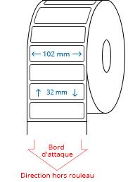 102 mm x 32 mm Étiquettes à rouleaux