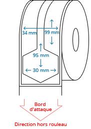 34 mm x 99 mm / 30 mm x 95 mm Étiquettes à rouleaux