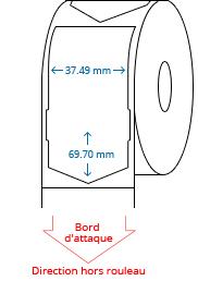 37.49 mm x 69.70 mm Étiquettes à rouleaux