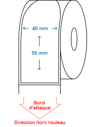 40 mm x 95 mm Étiquettes à rouleaux