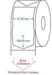 57.26 mm x 106.83 mm Étiquettes à rouleaux