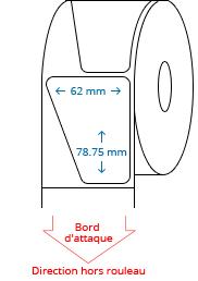 62 mm x 78.75 mm Étiquettes à rouleaux