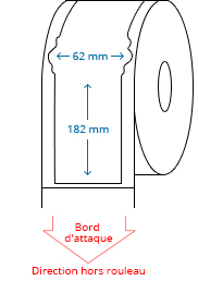 62 mm x 182 mm Étiquettes à rouleaux