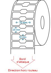 70 mm x 20 mm Étiquettes à rouleaux
