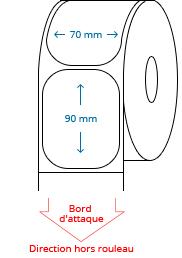 70 mm x 90 mm Étiquettes à rouleaux