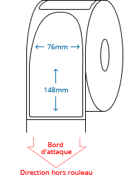 76 mm x 148 mm Étiquettes à rouleaux