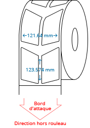 60.82 mm x 123.574 mm Étiquettes à rouleaux
