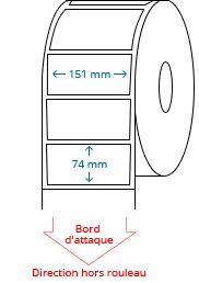 151 mm x 74 mm / 147.5 mm x 74 mm Étiquettes à rouleaux